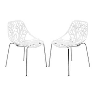 Asbury Modern White Dining Chair with Chrome Legs (Set of 2) - Overstock