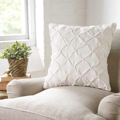 "Alda Pintucked Pillow Cover - White - 18"" H x 18"" W - No Insert - Wayfair"