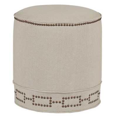 Sandy Contemporary Herringbone Linen Round Stool Ottoman - Kathy Kuo Home