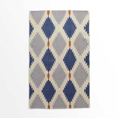 Phoenix Wool Dhurrie Rug, Regal Blue - West Elm