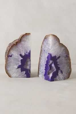 Hand-Cut Agate Bookends - Purple, large - Anthropologie