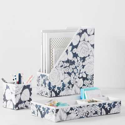 Printed Paper Desk Accessories, Charcoal Floral - Pottery Barn Teen