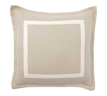 Textured Linen Frame Pillow Cover - Flax/Ivory, 20x20, No Insert - Pottery Barn