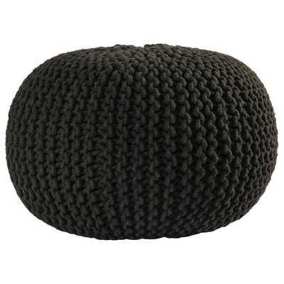 16-inch Black Cotton Rope Pouf Ottoman - Overstock