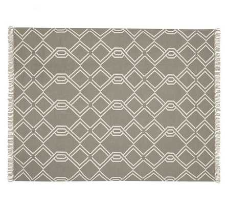 Diamond Cable Indoor/Outdoor Syntheic Rug - Gray - Pottery Barn
