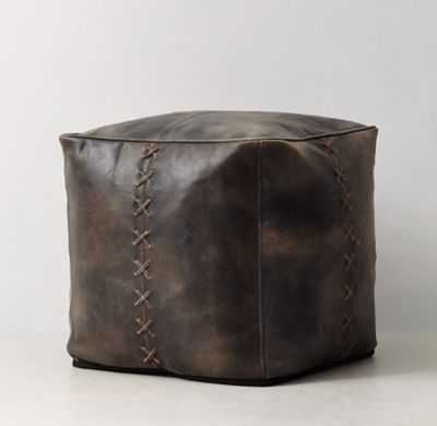 LEATHER BASEBALL STITCH POUF - RH Teen