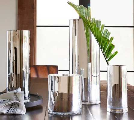 Silver Monroe Vase, Extra Large - Pottery Barn
