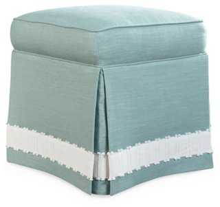 Arlo Skirted Ottoman, Nantucket Sea - One Kings Lane