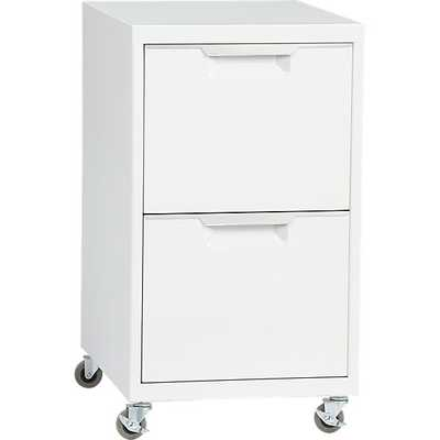 TPS white 2-drawer filing cabinet - CB2
