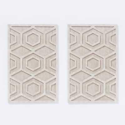 "Whitewashed Wood Wall Art - Hexagon - Set of 2 - 30""x47.5"" - West Elm"
