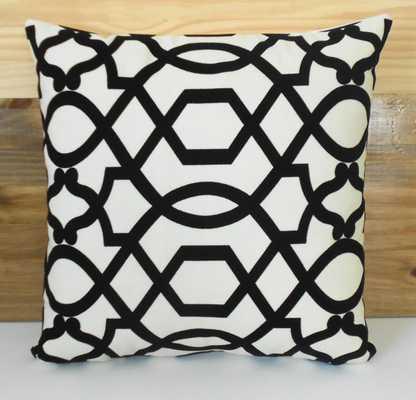 """Black and white velvet decorative pillow-22""""-no insert - Etsy"""