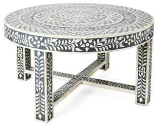 Devin Bone-Inlay Coffee Table, Black - One Kings Lane