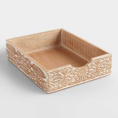 Hand-Carved Wood Gianna Paper Tray - World Market/Cost Plus
