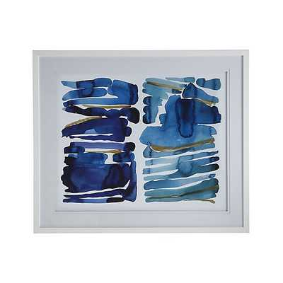 """Blue and Green Print - 44.75""""Wx2.25""""Dx37.25""""H - White frame - - Crate and Barrel"""