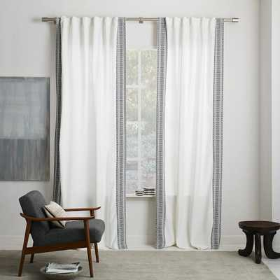 "Tribal Stripe Woven Curtain, Stonewhite, 48""x84"" - West Elm"