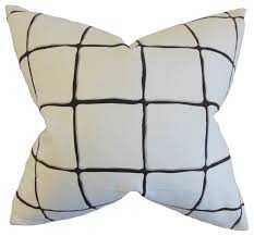 """Owen Checked Pillow Ink - 18"""" x 18"""" - Polyester Insert - Linen & Seam"""