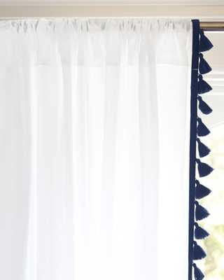 "French Tassel Window Panel - Navy, 108""L - Serena and Lily"