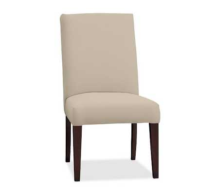 PB Comfort Square Upholstered Chair - Quick Ship; Dining Side Chair - Twill, Parchment - Pottery Barn
