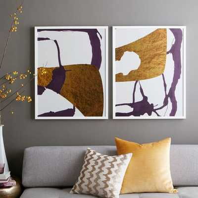 The Arts Capsule Ink Diptych - Violet Expressionist Prints I & II - West Elm