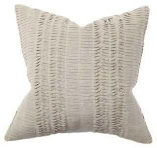 Pleat 18x18 Cotton Pillow, Natural - One Kings Lane