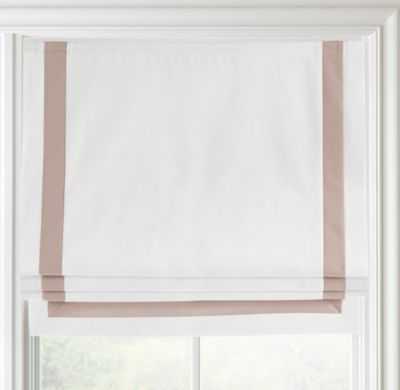 "Appliquéd frame cotton canvas roman shade - Optic White/Petal - 32""W x 64""L - RH"