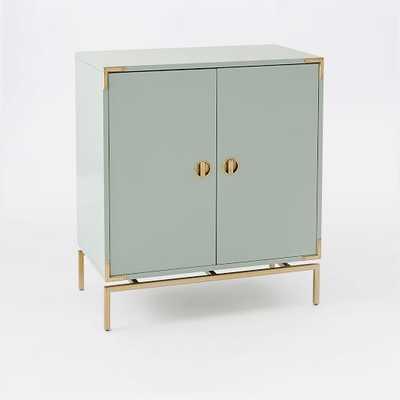 Malone Campaign Bar Cabinet - Oregano Lacquer/Antique Brass - West Elm