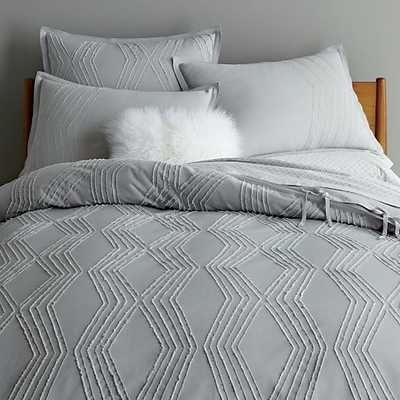 Roar + Rabbit Zigzag Texture Duvet Cover, King, Frost Gray - West Elm