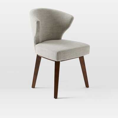 Gaston Dining Chair Set of 2, Linen Weave, Platinum, Pecan Leg - West Elm