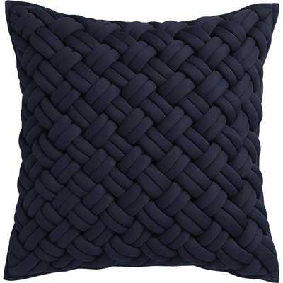 "Jersey interknit navy 20"" pillow with feather insert - CB2"