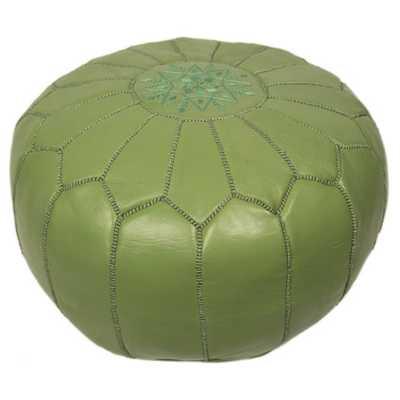 Moroccan Embroidered Pouf Ottoman  - apple green - AllModern