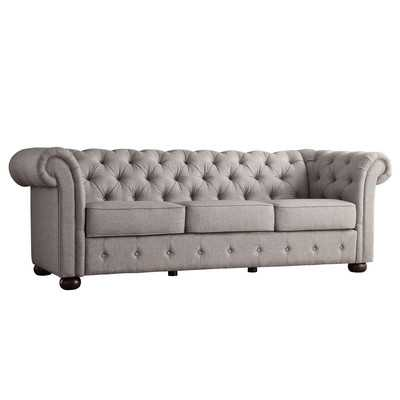 Ivy Tufted Button Linen Sofa - Grey - Wayfair
