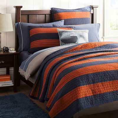 Rugby Stripe Quilt - Full/Queen - Navy/Orange - Pottery Barn Teen