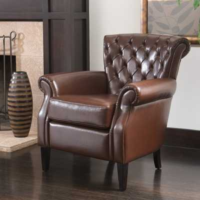 Christopher Knight Home Franklin Brown Tufted Bonded Leather Club Chair - Overstock