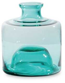 Ink Bottle Stacking Vase Short, Teal - One Kings Lane