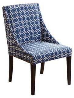 Victoria Swoop Dining Chair, Navy Blue - One Kings Lane