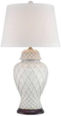 Lavoie Ivory Trellis Ceramic Table Lamp - Lamps Plus