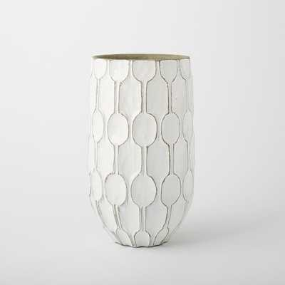 Linework Vase, Honeycomb, Tall Wide Vase - White - West Elm