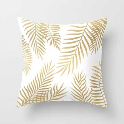 """Gold palm leaves  Indoor Pillow - 20"""" x 20"""" - Down Insert - Society6"""