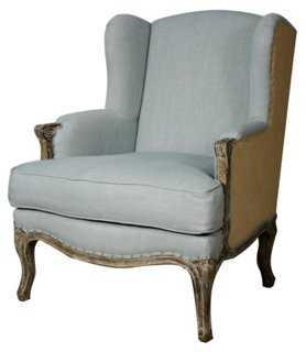 Marie Wingback Chair, Light Blue/Burlap - One Kings Lane