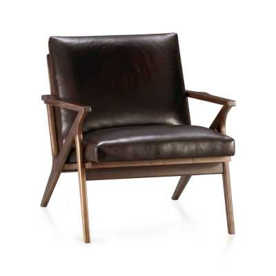 Cavett Leather Chair - Saddle - Crate and Barrel
