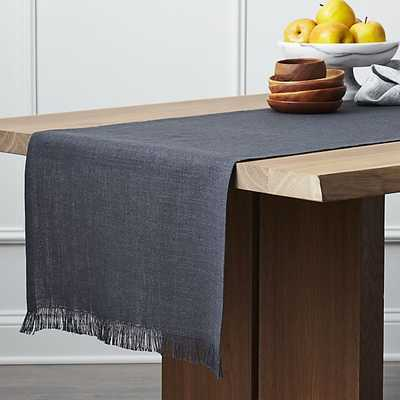 "Beckett Graphite 90"" Linen Table Runner - Crate and Barrel"