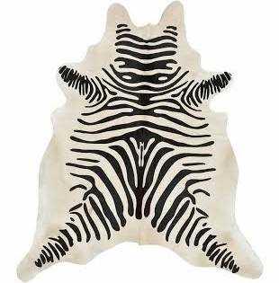 Black and Beige Zebra Print Hide Rug - High Fashion Home