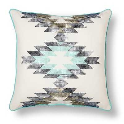 "Southwest Cross-stitch Pillow (18x18"") - White/teal - Polyester fill - Target"