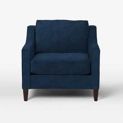 Paidge Chair - Performance Velvet, Ink Blue -Down Blend Fill - West Elm