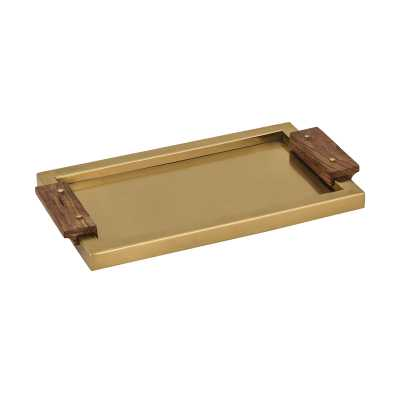Brass Tray with Wood Handles - Rosen Studio