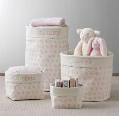 Nursery canvas storage - pink bunny - RH Baby & Child