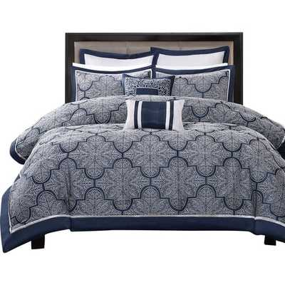 Medina Comforter King Set - Navy - Wayfair