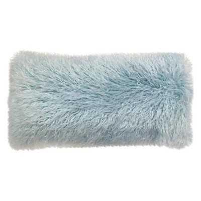 """Light Blue Oblong Mongolia Fur Pillow, 24""""x12""""-Polyster insert - Target"""