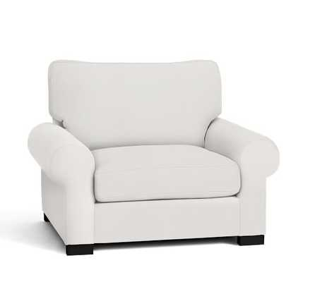 TURNER ROLL ARM UPHOLSTERED SMALL ARMCHAIR - Performance Canvas, Warm White - Pottery Barn