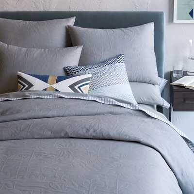 Organic Garden Matelasse Duvet Cover - Full/Queen- Platinum - West Elm